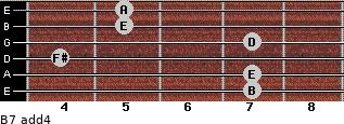 B-7(add4) for guitar on frets 7, 7, 4, 7, 5, 5