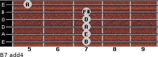 B-7(add4) for guitar on frets 7, 7, 7, 7, 7, 5