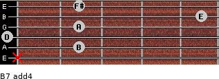 B-7(add4) for guitar on frets x, 2, 0, 2, 5, 2