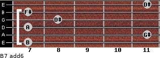 B7(add6) for guitar on frets 7, 11, 7, 8, 7, 11