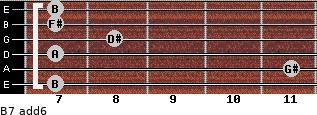 B7(add6) for guitar on frets 7, 11, 7, 8, 7, 7