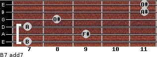 B7 add(7) for guitar on frets 7, 9, 7, 8, 11, 11