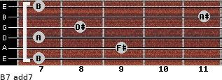 B7 add(7) for guitar on frets 7, 9, 7, 8, 11, 7
