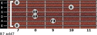 B7 add(7) for guitar on frets 7, 9, 8, 8, 10, 7