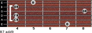 B7(add9) for guitar on frets 7, 4, 4, 8, 4, 5