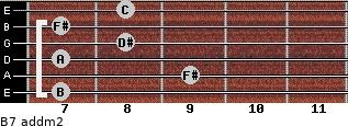 B7 add(m2) for guitar on frets 7, 9, 7, 8, 7, 8