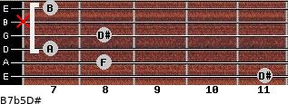 B7b5/D# for guitar on frets 11, 8, 7, 8, x, 7