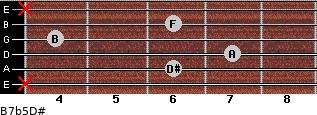 B7b5/D# for guitar on frets x, 6, 7, 4, 6, x