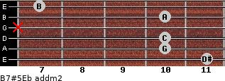 B7#5/Eb add(m2) for guitar on frets 11, 10, 10, x, 10, 7