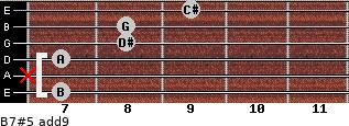 B7#5(add9) for guitar on frets 7, x, 7, 8, 8, 9