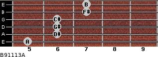 B9/11/13/A for guitar on frets 5, 6, 6, 6, 7, 7