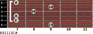 B9/11/13/C# for guitar on frets 9, 7, 7, 8, 9, 7
