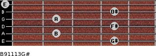 B9/11/13/G# for guitar on frets 4, 2, 4, 2, 4, 0