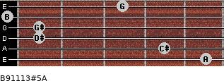 B9/11/13#5/A for guitar on frets 5, 4, 1, 1, 0, 3