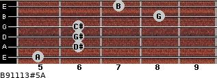 B9/11/13#5/A for guitar on frets 5, 6, 6, 6, 8, 7