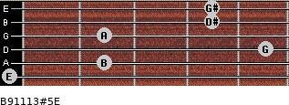 B9/11/13#5/E for guitar on frets 0, 2, 5, 2, 4, 4