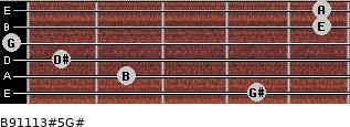 B9/11/13#5/G# for guitar on frets 4, 2, 1, 0, 5, 5