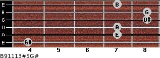 B9/11/13#5/G# for guitar on frets 4, 7, 7, 8, 8, 7