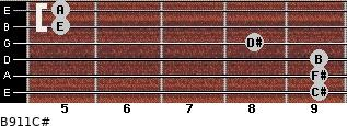 B9/11/C# for guitar on frets 9, 9, 9, 8, 5, 5