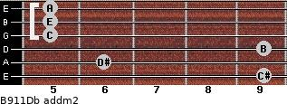B9/11/Db add(m2) guitar chord