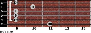 B9/11/D# for guitar on frets 11, 9, 9, 9, 10, 9