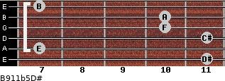 B9/11b5/D# for guitar on frets 11, 7, 11, 10, 10, 7