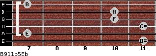 B9/11b5/Eb for guitar on frets 11, 7, 11, 10, 10, 7