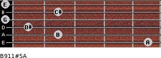 B9/11#5/A for guitar on frets 5, 2, 1, 0, 2, 0