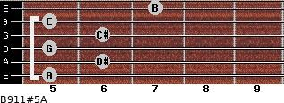 B9/11#5/A for guitar on frets 5, 6, 5, 6, 5, 7