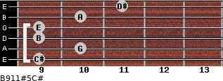 B9/11#5/C# for guitar on frets 9, 10, 9, 9, 10, 11