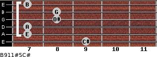 B9/11#5/C# for guitar on frets 9, 7, 7, 8, 8, 7