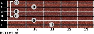 B9/11#5/D# for guitar on frets 11, 10, 9, 9, 10, 9