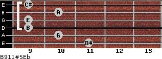 B9/11#5/Eb for guitar on frets 11, 10, 9, 9, 10, 9