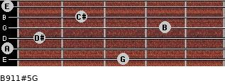 B9/11#5/G for guitar on frets 3, 0, 1, 4, 2, 0