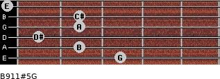 B9/11#5/G for guitar on frets 3, 2, 1, 2, 2, 0