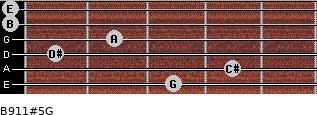 B9/11#5/G for guitar on frets 3, 4, 1, 2, 0, 0