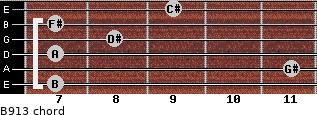 B9/13 for guitar on frets 7, 11, 7, 8, 7, 9