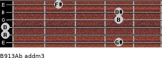 B9/13/Ab add(m3) for guitar on frets 4, 0, 0, 4, 4, 2
