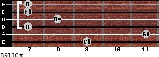B9/13/C# for guitar on frets 9, 11, 7, 8, 7, 7