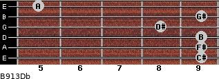 B9/13/Db for guitar on frets 9, 9, 9, 8, 9, 5