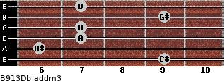 B9/13/Db add(m3) guitar chord