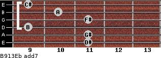 B9/13/Eb add(7) guitar chord