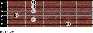 B9/13/G# for guitar on frets 4, 2, 1, 2, 2, 2