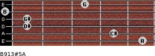B9/13#5/A for guitar on frets 5, 4, 1, 1, 0, 3