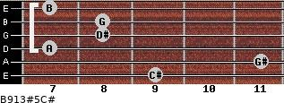 B9/13#5/C# for guitar on frets 9, 11, 7, 8, 8, 7