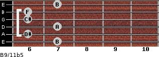 B9/11b5 for guitar on frets 7, 6, 7, 6, 6, 7