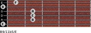B9/11b5/E for guitar on frets 0, 2, 2, 2, 0, 1