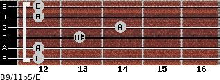 B9/11b5/E for guitar on frets 12, 12, 13, 14, 12, 12