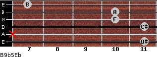 B9b5/Eb for guitar on frets 11, x, 11, 10, 10, 7