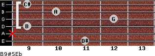 B9#5/Eb for guitar on frets 11, x, 9, 12, 10, 9